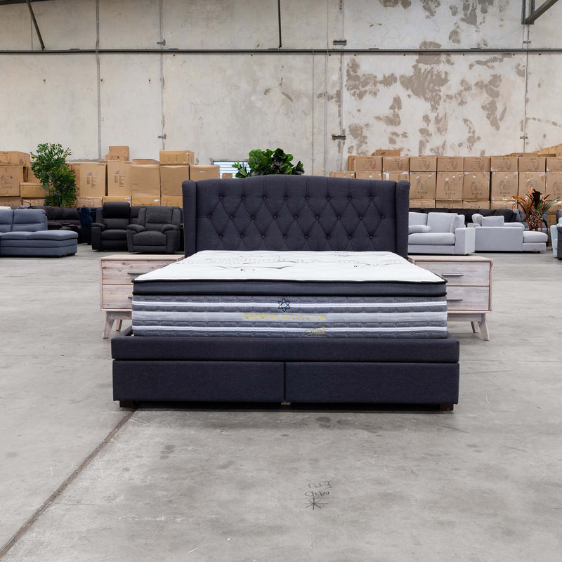 Amelia Queen Fabric Bed – Mid Grey - Warehouse Furniture Clearance