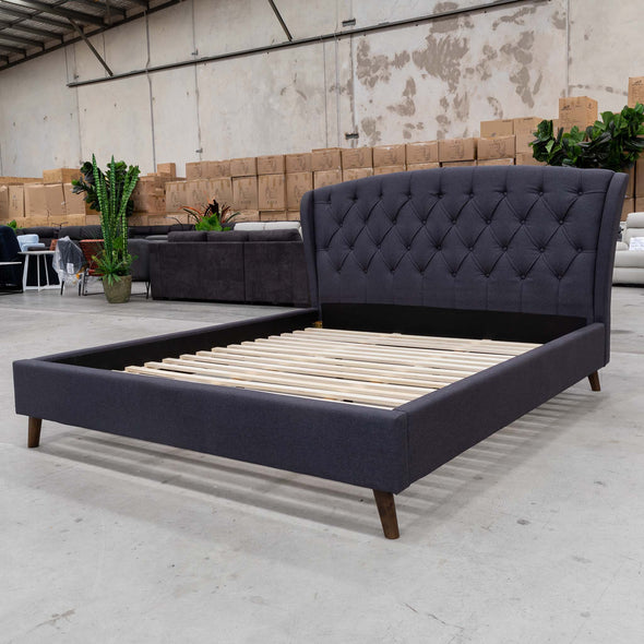 Charlotte King Fabric Bed - Mid Grey - Warehouse Furniture Clearance