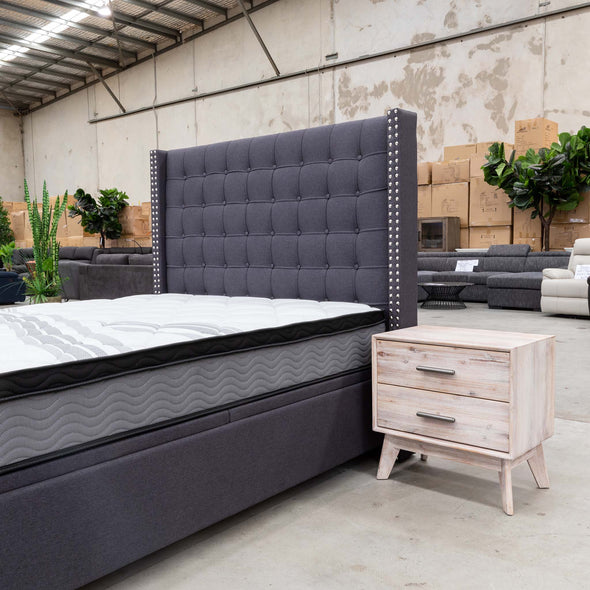 Emma King Gas Lift Bed - Mid Grey - Warehouse Furniture Clearance