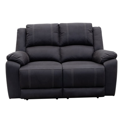 Gozo Two Seat Recliner Lounge - Jet - Ships / Pickup from 3rd September - Warehouse Furniture Clearance