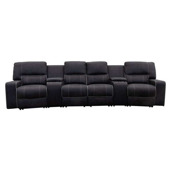 Helix 4 Recliner Theatre Lounge - Jet - Warehouse Furniture Clearance