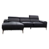 Sentosa LHF Chaise Lounge - Black Leather - Warehouse Furniture Clearance