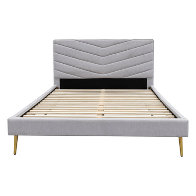Lexi Double Fabric Bed - Stone Linen - Warehouse Furniture Clearance