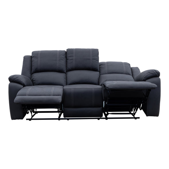Gozo Three Seat Recliner Lounge - Jet - Warehouse Furniture Clearance