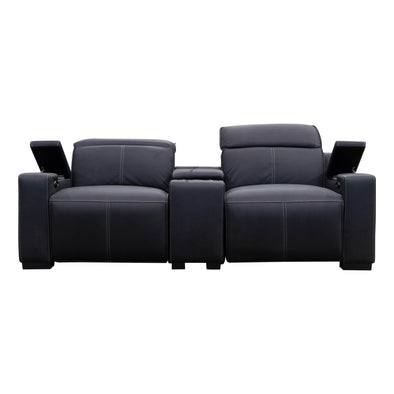 Madrid Electric Two Seater Recliner Lounge - Jet - Warehouse Furniture Clearance