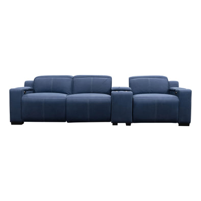 Madrid Electric Three Seater Recliner Lounge - Navy - Warehouse Furniture Clearance