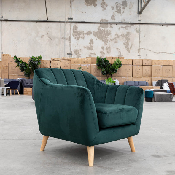 Pearl Accent Chair - Future Forrest Green Velvet - Warehouse Furniture Clearance