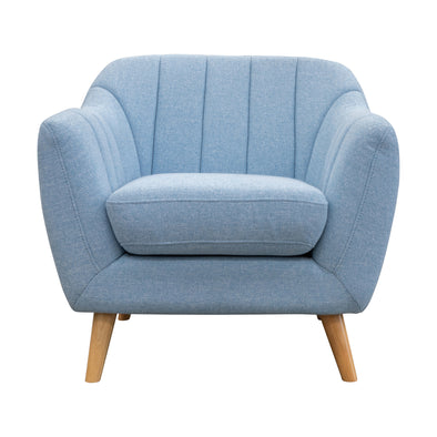 Pearl Accent Chair - Sky Blue Fabric - Warehouse Furniture Clearance
