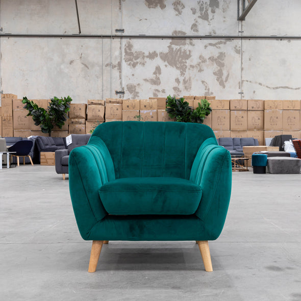 Pearl Accent Chair - Decker Green Velvet - Warehouse Furniture Clearance