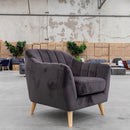 Pearl Accent Chair - Decker Dark Grey Velvet - Warehouse Furniture Clearance