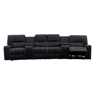 Nexus 4 Recliner Electric Theatre Lounge - Jet - Warehouse Furniture Clearance