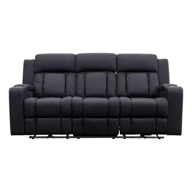 Remi 3 Seater Electric Recliner Lounge - Jet - Warehouse Furniture Clearance