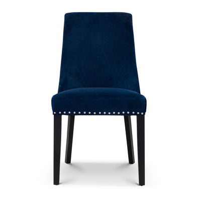 Sienna Quilted Velvet Dining Chair - Navy - Warehouse Furniture Clearance