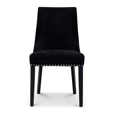 Sienna Quilted Velvet Dining Chair - Onyx - Warehouse Furniture Clearance