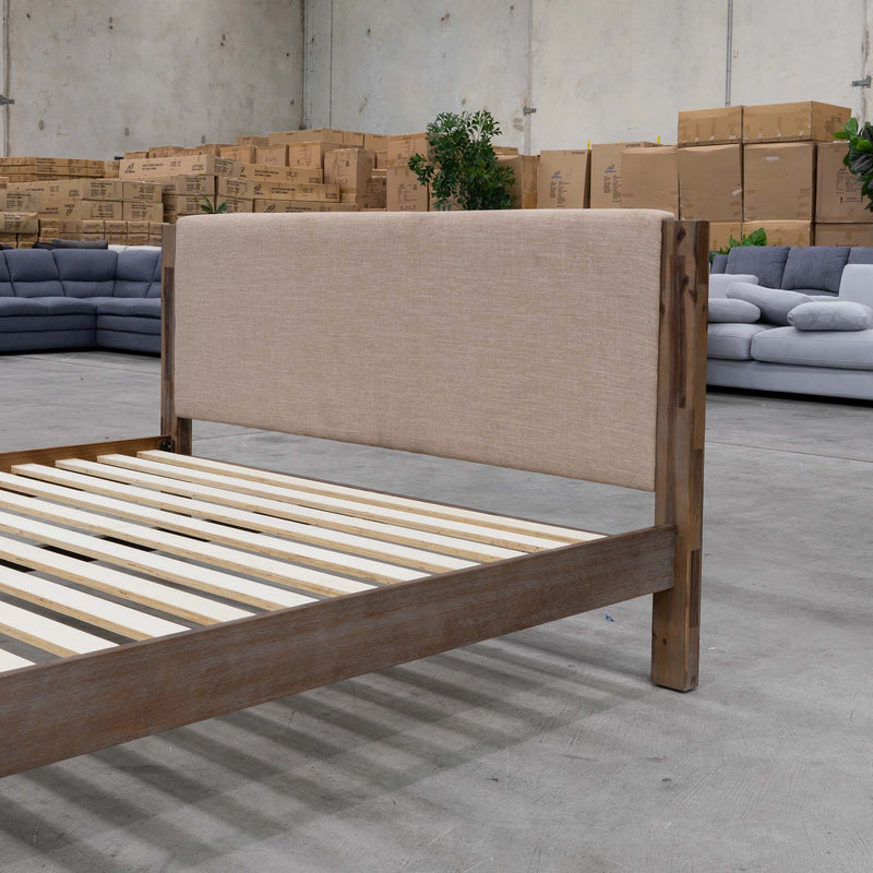 Acapulco Timber & Fabric Double Bed - Warehouse Furniture Clearance