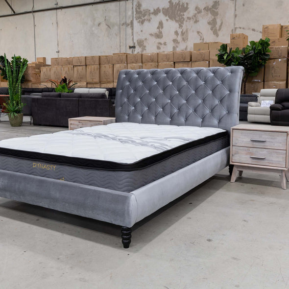 Alice Queen Fabric Bed - Silver - Warehouse Furniture Clearance