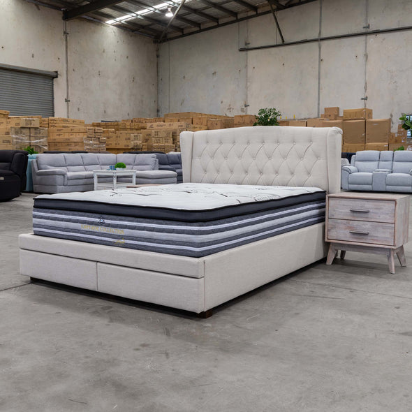 Amelia Double Fabric Bed - Oat - Warehouse Furniture Clearance