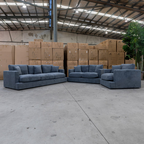 Atlanta Feather & Foam Three Seater - Gunmetal - Warehouse Furniture Clearance