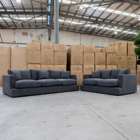 Atlanta Feather & Foam Three Seater - Storm - Warehouse Furniture Clearance