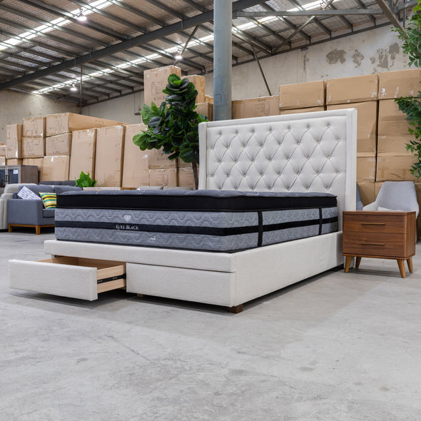 Brighton King Fabric Storage Bed - Oat - Warehouse Furniture Clearance