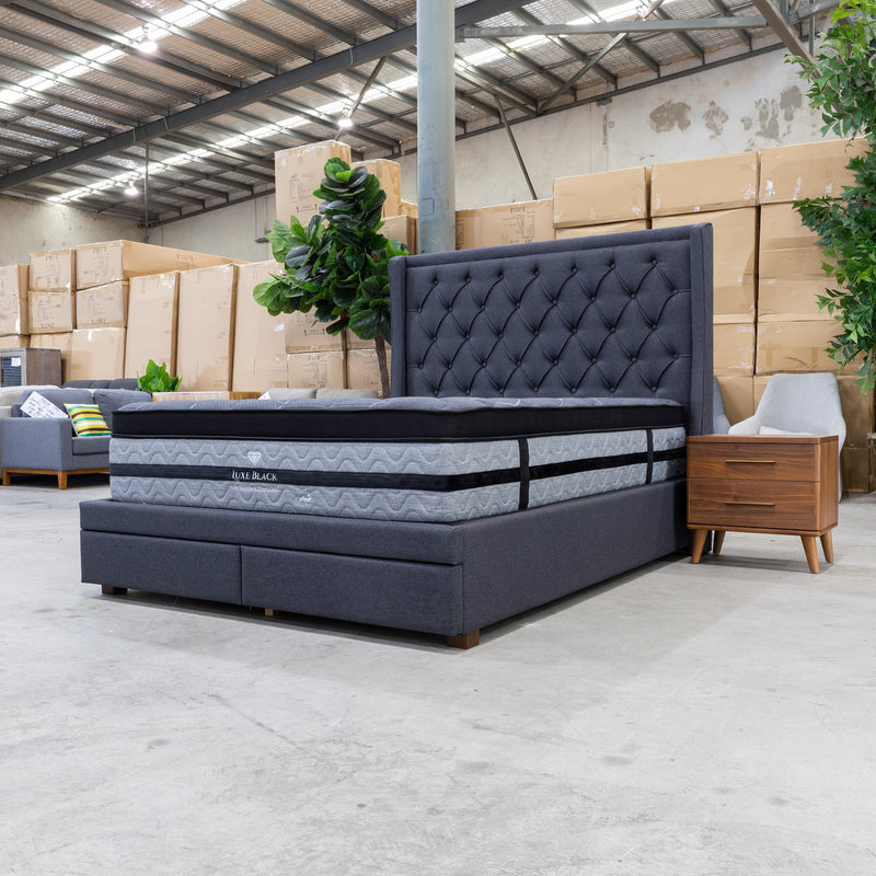 Brighton Queen Fabric Storage Bed - Mid Grey - Warehouse Furniture Clearance