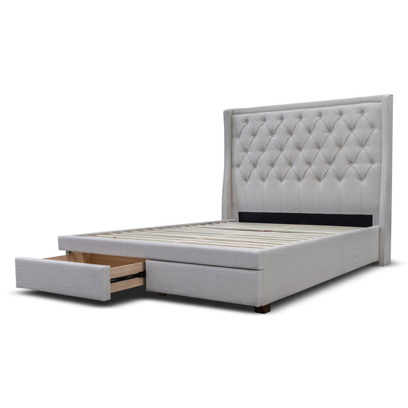 Brighton Queen Fabric Storage Bed - Oat - Warehouse Furniture Clearance