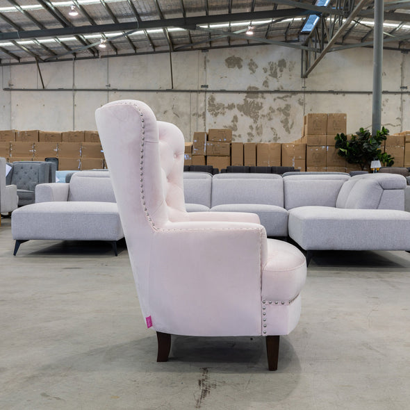 Charlotte Accent Chair – Velvet Pink - Warehouse Furniture Clearance