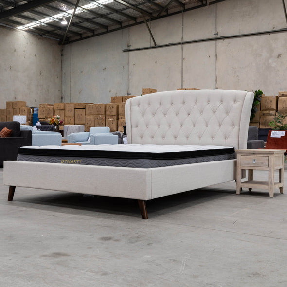 Charlotte King Fabric Bed - Oat White - Warehouse Furniture Clearance