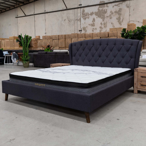 Charlotte Queen Fabric Bed - Mid Grey - Warehouse Furniture Clearance