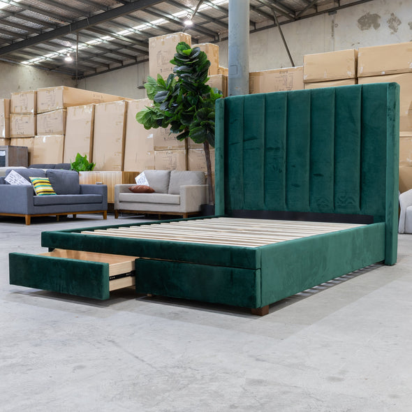 Chester Queen Fabric Storage Bed - Green Velvet - Warehouse Furniture Clearance