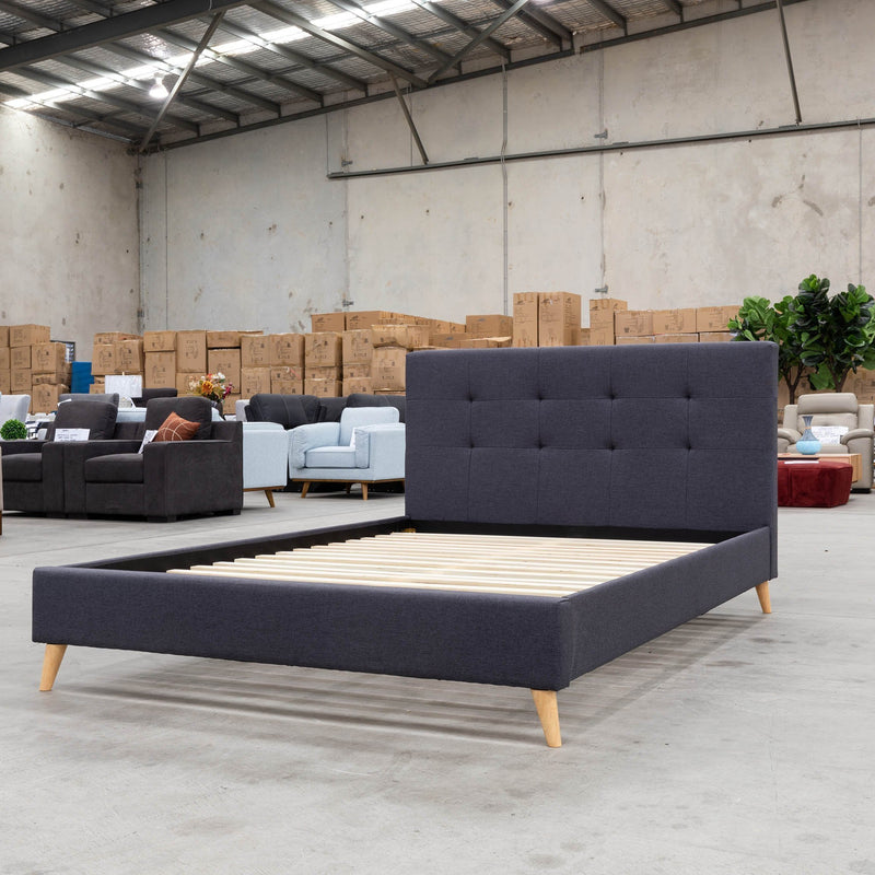 Chloe Double Fabric Bed - Dark Grey - Warehouse Furniture Clearance