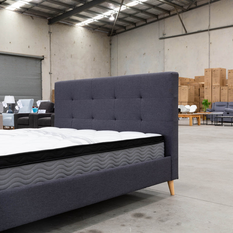 Chloe Queen Fabric Bed - Mid Grey - Warehouse Furniture Clearance