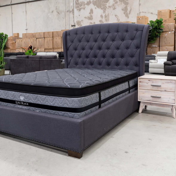Elizabeth King Fabric Bed - Grey - Warehouse Furniture Clearance