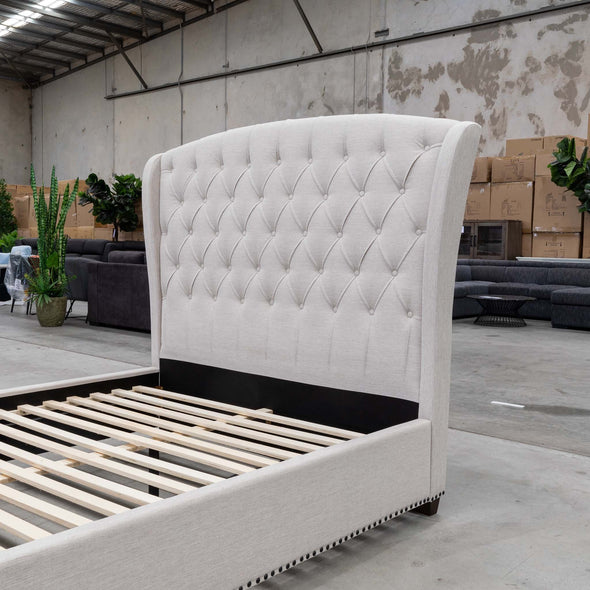 Elizabeth Queen Fabric Bed - Oat - Warehouse Furniture Clearance