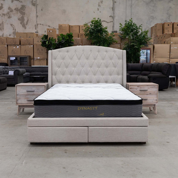 Emily Queen Farbic Bed – Oat - Warehouse Furniture Clearance