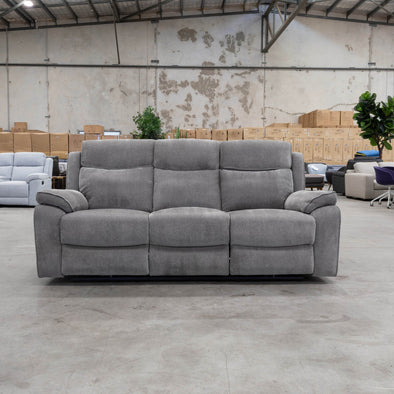 Estelle Three Seater Electric Recliner Lounge - Alloy - Warehouse Furniture Clearance