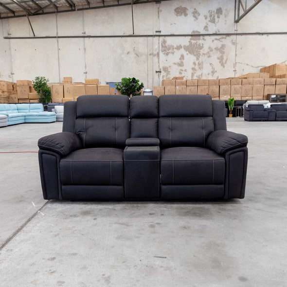 Gato Two Seater Electric Theatre Lounge - Jet - Warehouse Furniture Clearance