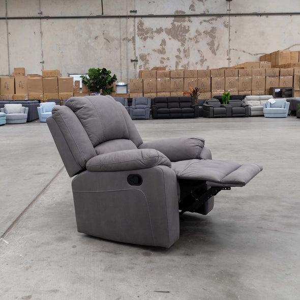 Gozo Suede Recliner - Ash - Warehouse Furniture Clearance