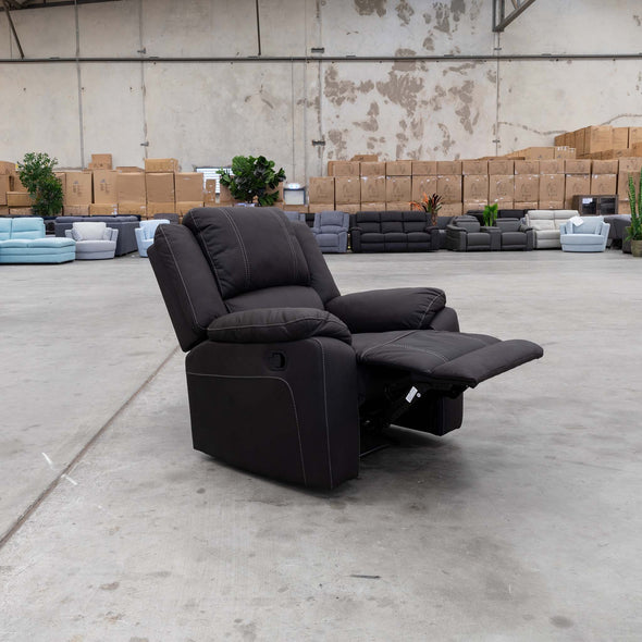 Gozo Suede Recliner - Jet - Warehouse Furniture Clearance