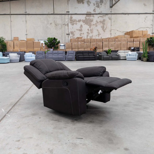 Gozo Single Recliner - Jet - Warehouse Furniture Clearance