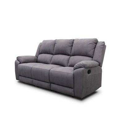 Gozo Three Seater Suede Lounge - Ash - Warehouse Furniture Clearance