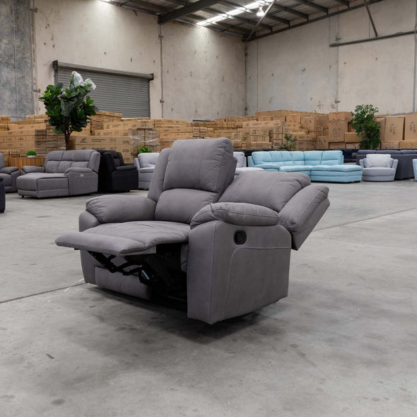 Gozo Two Seater Suede Lounge - Ash - Warehouse Furniture Clearance