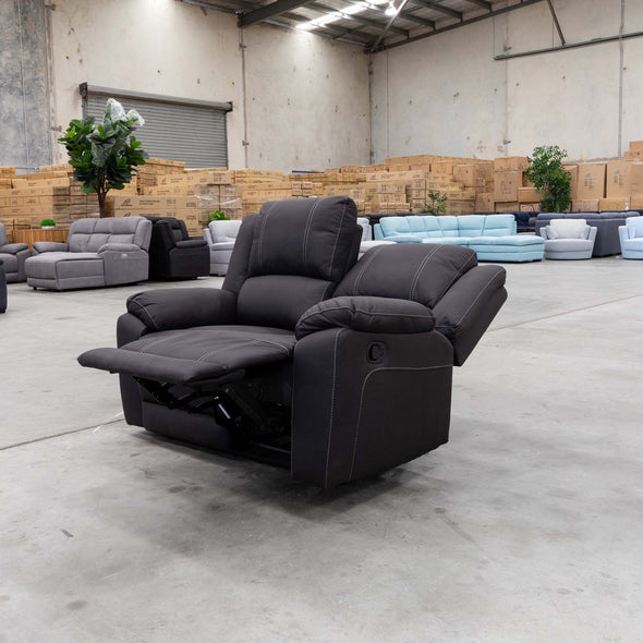 Gozo Two Seater Suede Lounge - Jet - Warehouse Furniture Clearance