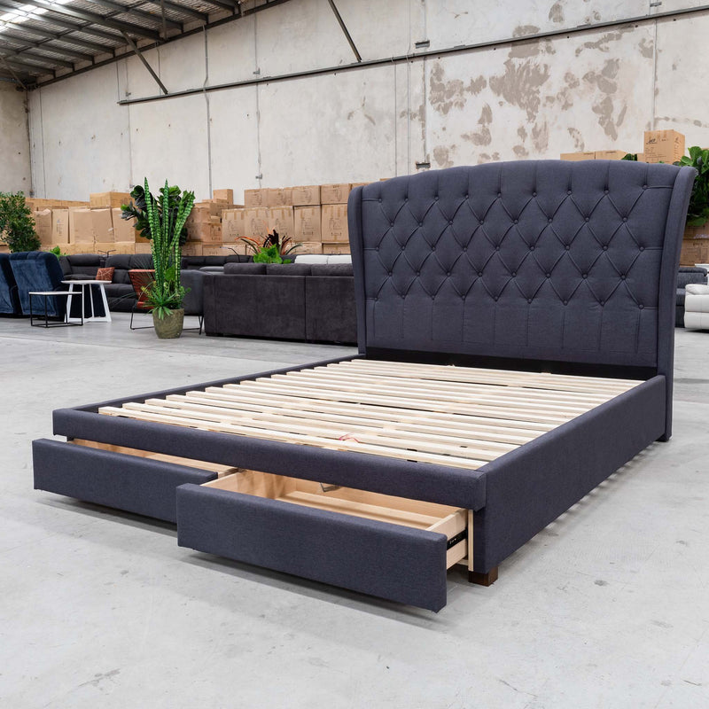 Grace Queen Fabric Bed - Mid Grey - Warehouse Furniture Clearance