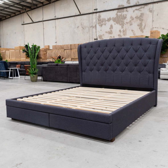 Grace Queen Fabric Bed - Grey - Warehouse Furniture Clearance