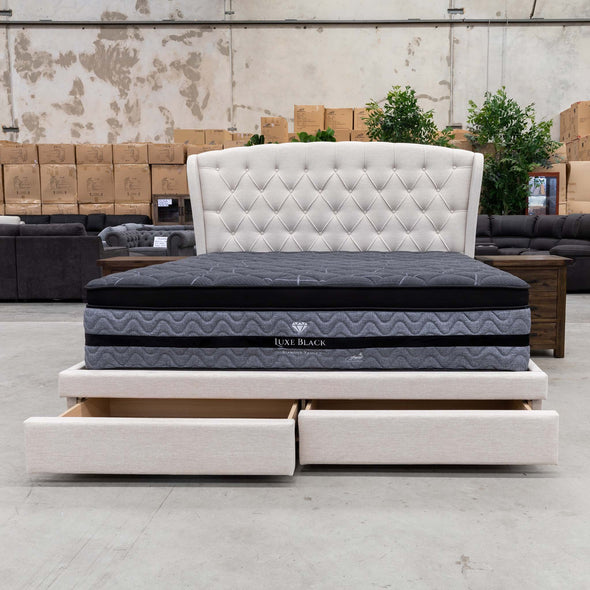 Grace Queen Storage Bed – Oat - Warehouse Furniture Clearance