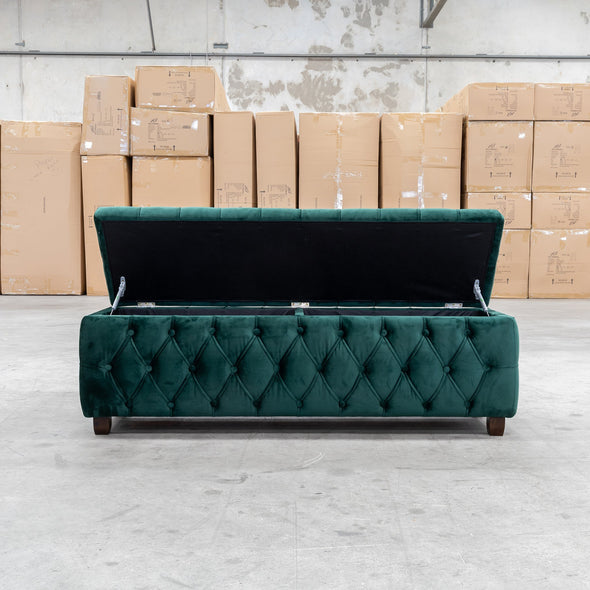 Harlow 1500mm - Queen Size Blanket Box - Dark Green Velvet - Warehouse Furniture Clearance