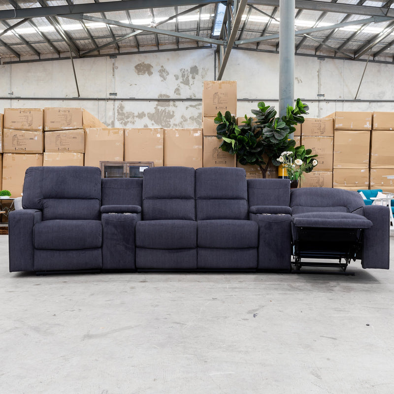 Helix 4 Recliner Theatre Lounge - Ebony Velvet - Warehouse Furniture Clearance