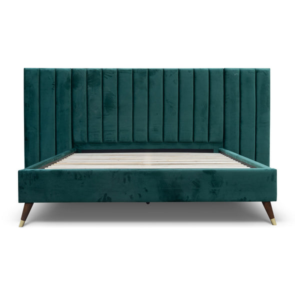 Isla King Fabric Bed - Green Velvet - Warehouse Furniture Clearance