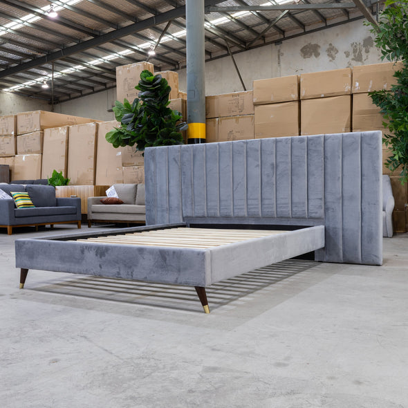 Isla King Fabric Bed - Grey  Velvet - Warehouse Furniture Clearance